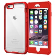 "rOOCASE Glacier Tough Clear Back Full Body Armor Case Cover for 5.5"" iPhone 6 Plus, Carmine Red (RC-IPH6-5.5-GT-RD)"