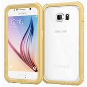 rOOCASE Glacier Tough Clear Back Full Body Armor Case Cover for Samsung Galaxy S6, Champagne Gold (RC-SAM-S6-GT-CG)