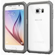 rOOCASE Glacier Tough Clear Back Full Body Armor Case Cover for Samsung Galaxy S6, Space Gray (RC-SAM-S6-GT-SG)