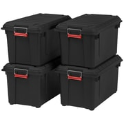 IRIS® 87 Quart Weathertight Heavy Duty Tote, Black, 4 Pack (585750)