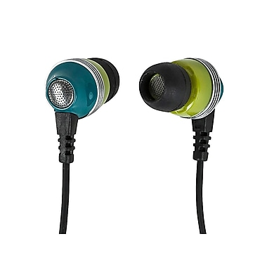 Monoprice 110153 Wired Earphones with Built-in Microphone, Green