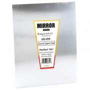 "Hygloss HYG28355 Silver Mirror Board Sheet, 7"" x 5"", 25/Pack"