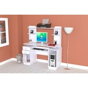 Inval America Laura Standard Computer Workcenter with Hutch, Laricina-White
