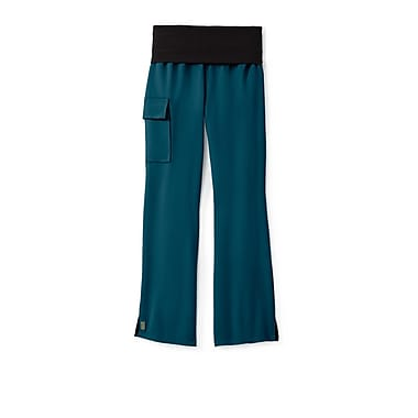 Medline Ocean ave Women Large Yoga Scrub Pants, Caribbean Blue (5560CRBL)
