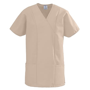 Medline ComfortEase Women Large Crossover Tunic Scrub Top, Khaki (8851JKKL)