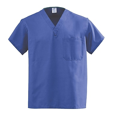 Medline AngelStat Unisex Large Reversible V-Neck Scrub Top, Purple (610NRPL-CA)