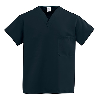 Medline ComfortEase Unisex Large V-Neck Two-Pockets Reversible Scrub Top, Black (910DKWL-CM)