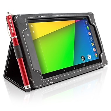Snugg B00EJF6TMU Polyurethane Leather Folio Case and Flip Stand for Google Nexus 7 2013, Black