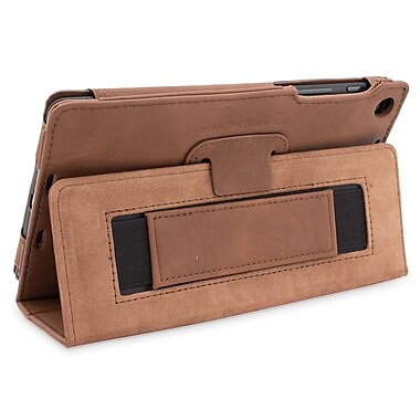 Snugg B00F8G0USS Polyurethane Leather Folio Case and Flip Stand for Google Nexus 7 2013, Distressed Brown