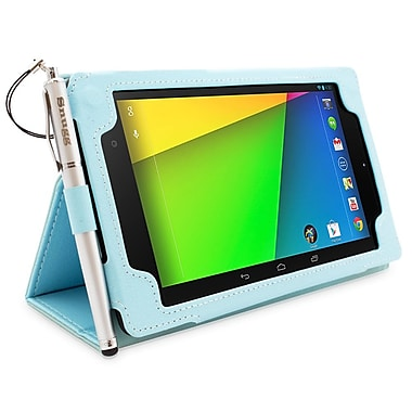 Snugg B00F8FQFCY Polyurethane Leather Folio Case and Flip Stand for Google Nexus 7 2013, Baby Blue