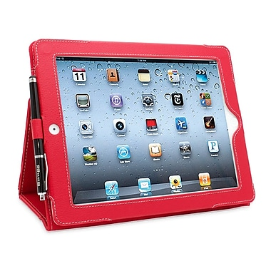 Snugg B008TSHF4O Polyurethane Leather Folio Case and Flip Stand for Apple iPad 2, Red