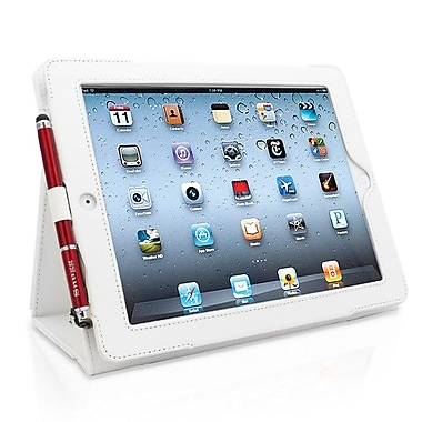 Snugg B008X22YA6 Polyurethane Leather Folio Case and Flip Stand for Apple iPad 2, White