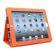 Snugg B008X1PX78 Polyurethane Leather Folio Case and Flip Stand for Apple iPad 2, Orange
