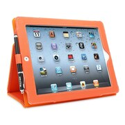 Snugg B008X1PX78 Polyurethane Leather Folio Case and Flip Stand for Apple iPad 2, Orange