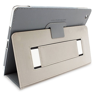 Snugg B00FF79NVU Polyurethane Leather Folio Case and Flip Stand for Apple iPad 2, Gray