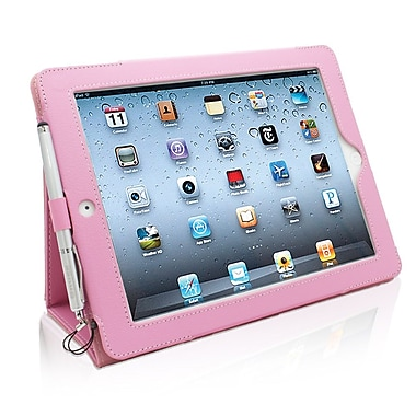 Snugg B008XF93TI Polyurethane Leather Folio Case and Flip Stand for Apple iPad 2, Candy Pink