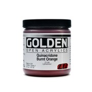 Golden OPEN Acrylic Colors quinacridone burnt orange 8 oz. jar