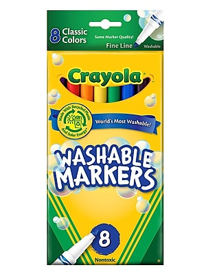 Crayola Classic Color Ultra-Clean Washable Markers fine tip pack of 8 [Pack of 4] 1716984