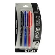 Pilot FriXion Point Erasable Gel Pens black, blue, red set of 3 0.5 mm [Pack of 3]