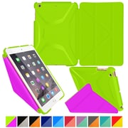 rOOCASE Origami Polyurethane 3D Slim Shell Folio Smart Case Cover for iPad Mini 3/2/1, Electric Green/Peach Pink