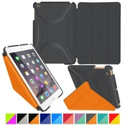 rOOCASE Origami Polyurethane 3D Slim Shell Folio Smart Case Cover for iPad Mini 3/2/1, Space Gray/Orange