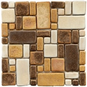 EliteTile Heritage Random Sized Ceramic Mosaic Tile in Brown and Gold