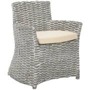 Safavieh Renee Arm Chair; Grey White Wash / Black & White Stripe