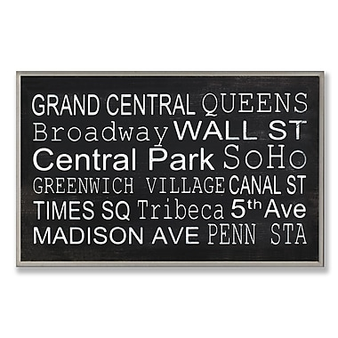 Stupell Industries NYC Subway Train Station Stops Textual Art Wall Plaque