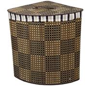 ORE Furniture Checker Print Bow Front Bamboo Corner Laundry Hamper