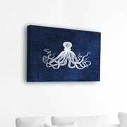 Stupell Industries Oversized Octopus on Blue Wrapped Canvas Wall Art