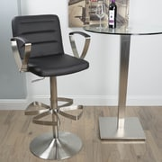 Matrix Rexx Adjustable Height Swivel Bar Stool with Cushion; Black