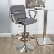 Matrix Rexx Adjustable Height Swivel Bar Stool with Cushion; Grey