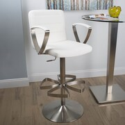 Matrix Rexx Adjustable Height Swivel Bar Stool with Cushion; White