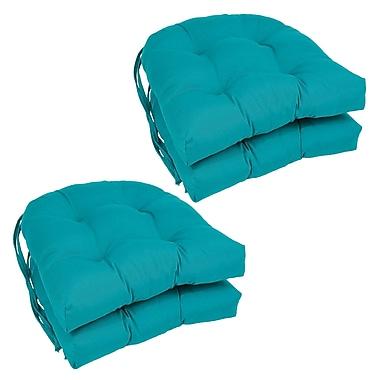 Blazing Needles Dining Chair Cushion (Set of 4); Aqua Blue