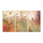 Stupell Industries Pink Blossoms and Butterflies Triptych 3 Piece Painting Print Wall Plaque Set