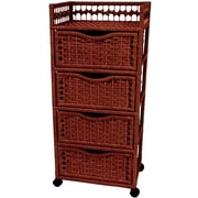 Oriental Furniture Natural Fiber 4 Drawer Accent Chest; Mahogany