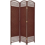 Oriental Furniture 67'' x 38'' Weave 3 Panel Room Divider; Dark Red