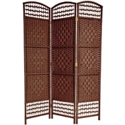 Oriental Furniture 67'' x 38'' Tall Fiber Weave 3 Panel Room Divider; Dark Red
