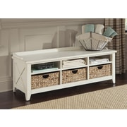 Liberty Furniture Wood Storage Entryway Bench; Rustic White