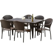 Home Loft Concepts Dimke 7pc Polyethylene Wicker Outdoor Dining Set