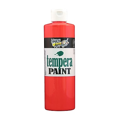 Handy Art 251-154 Tempera Paint Fluorescent, 16oz, Red, 12/Pack