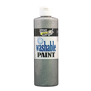 Handy Art 281-166 Washable Glitter Paint, 16oz, Silver, 12/Pack