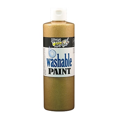 Handy Art 281-163 Washable Glitter Paint, 16oz, Gold, 12/Pack
