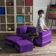 Jaxx Zipline Modular Kids Loveseat with Ottomans; Grape