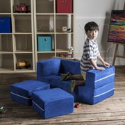 Jaxx Zipline Modular Kids Loveseat with Ottomans; Blueberry