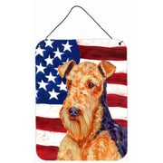 Caroline's Treasures Usa American Flag with Airedale Aluminum Hanging Painting Print Plaque