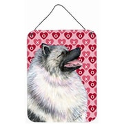 Caroline's Treasures Keeshond Hearts Love and Valentine's Day Portrait Hanging Painting Print Plaque