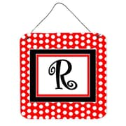 Caroline's Treasures Red Black Polka Dots Hanging Graphic Art Plaque; R
