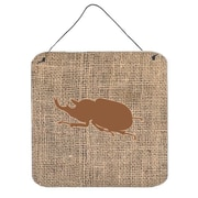 Caroline's Treasures Beetle Burlap and Brown Aluminum Hanging by Denny Knight Graphic Art Plaque