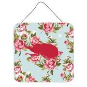 Caroline's Treasures Beetle Shabby Elegance Blue Roses Hanging Painting Print Plaque